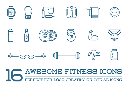 water quality: Set of Fitness Aerobics Gym Elements and Fitness Icons Illustration
