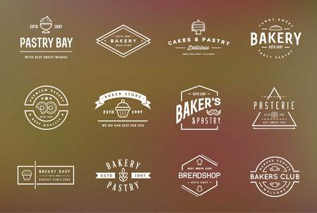 bakery: Set of Bakery Pastry Elements and Bread Icons Illustration