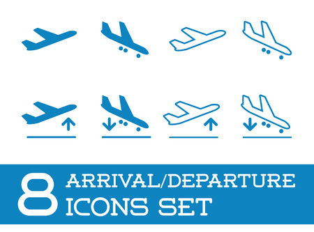 Aircraft or Airplane Icons Set Collection Vettoriali