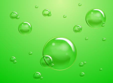 gas laundry: Set of Soap Water Bubbles Illustration