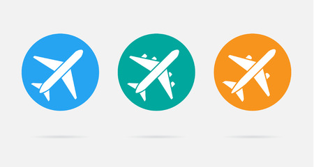 aircraft aeroplane: Aircraft or Airplane Flat Minimal Icons Set Collection Silhouette
