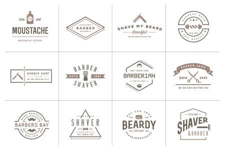Set di Barber Shop Elements e Shave Shop icone Illustrazione