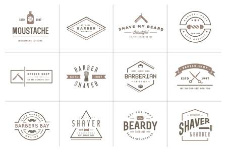 Set von Barber Shop Elemente und Shave Shop Icons Illustration