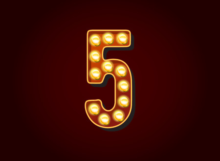show case: Casino or Broadway Signs style light bulb Digits Numbers Character 5 Illustration