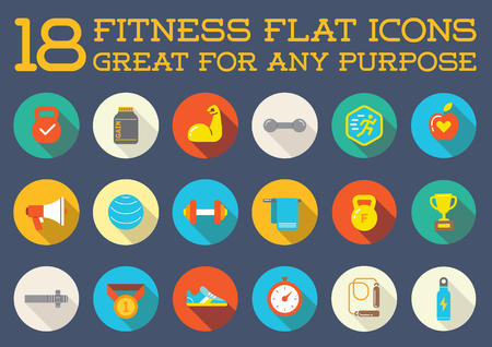 gimnasio: Conjunto de fitness Aerobic Gimnasio Elementos y Física Iconos Ilustración Vectores