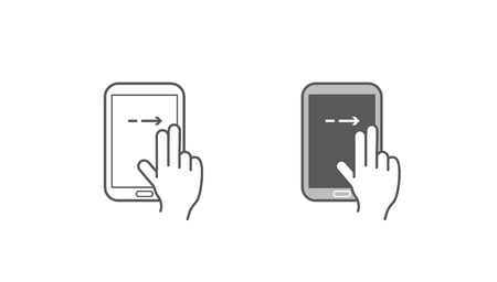 gestures: Set of Icons with Hands Holding Smart Device with Gestures Illustration