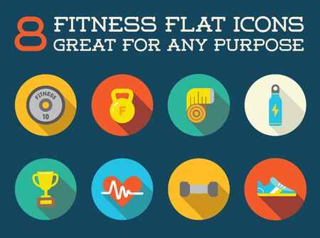 cardio fitness: Set of Fitness Aerobics Gym Elements and Fitness Icons Illustration
