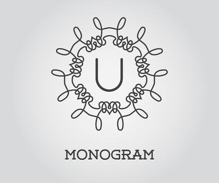 Monogram Design Template with Letter U Illustration Premium Elegant Quality Illustration