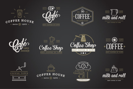 Set of Coffee Elements and Coffee Accessories Illustration Vettoriali
