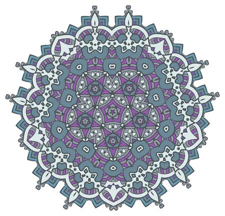 Ethnic Fractal Mandala Meditation looks like Snowflake or Maya Aztec Pattern or Flower Isolated on White