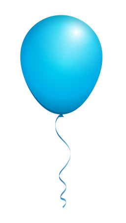 Color Glossy Blue Balloon isolated on White