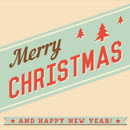 old style lettering: Merry Christmas Hand Lettering Typographical Background Card in Vintage Retro Old Style