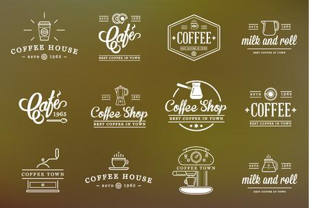 maquina vapor: Conjunto de elementos del café y accesorios de café Ilustración