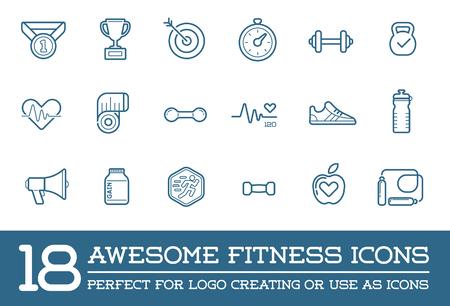 fitness hombres: Conjunto de fitness Aerobic Gimnasio Elementos y F�sica Iconos Ilustraci�n Vectores