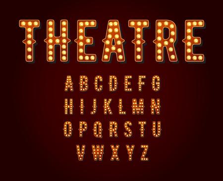 lettre alphabet: Casino ou Broadway signes ampoule de style Alphabet