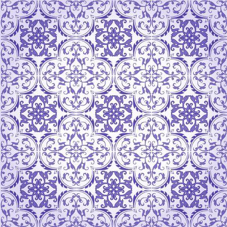 encaustic: Seamless Damask Background Pattern Design and Wallpaper Made of Turkish Texture Ceramic Tiles