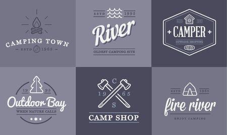 acampar: Conjunto de camping campamento Elementos y Actividad al aire libre iconos ilustración