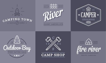 camp: Set of Camping Camp Elements and Outdoor Activity Icons Illustration