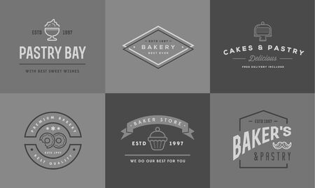 coffee blender: Set of Bakery Pastry Elements and Bread Icons Illustration
