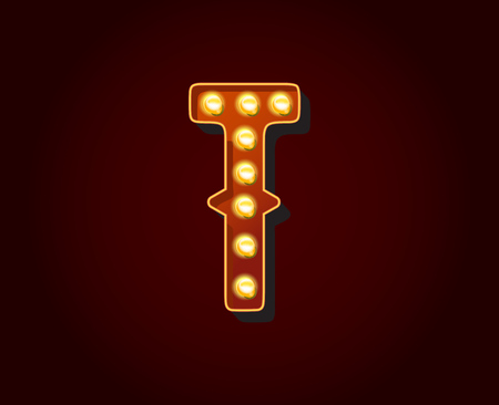 t bulb: Casino or Broadway Signs style light bulb Alphabet Letter Character T Illustration