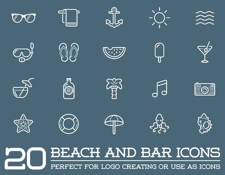 old bar: Set of Beach Sea Bar Elements and Summer