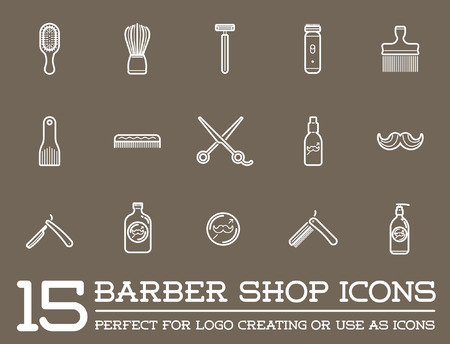barber pole: Set of Barber Shop Elements and Shave Shop Icons Illustration Illustration