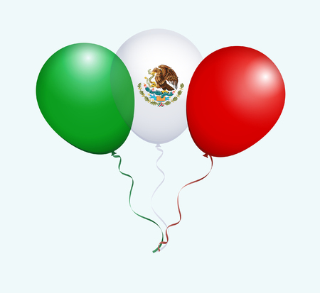 flotation: Balloons in Green White Red as Mexico National Flag