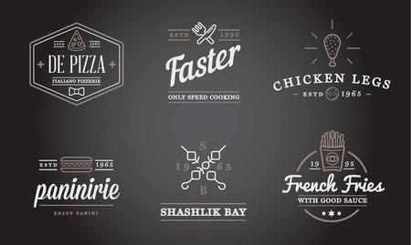 alimentos y bebidas: Conjunto de alimentos de preparación rápida Fastfood elementos iconos y equipo como ilustración