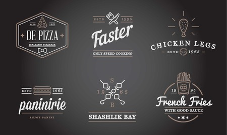 food and drinks: Set of Fastfood Fast Food Elements Icons and Equipment as Illustration