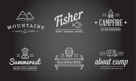 animal icon: Set of Camping Camp Elements and Outdoor Activity Icons Illustration