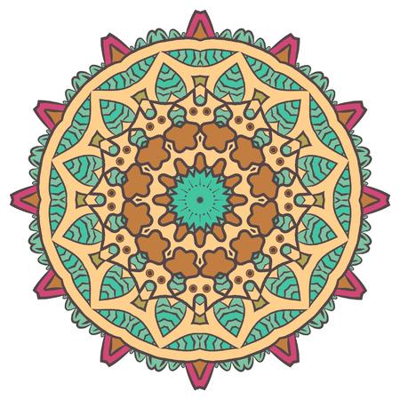 Ethnic Fractal Mandala Meditation looks like Snowflake or Maya Aztec Pattern or Flower too Isolated on White