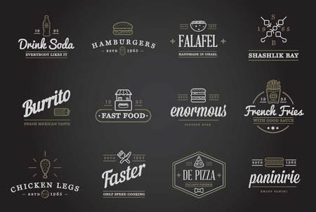 comida rapida: Conjunto de alimentos de preparación rápida Fastfood elementos iconos y equipo como ilustración