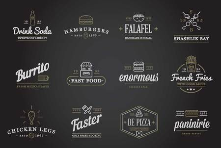 hamburger and fries: Set of Fastfood Fast Food Elements Icons and Equipment as Illustration