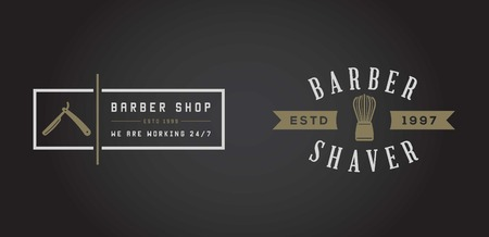 barber scissors: Set of Barber Shop Elements and Shave Shop Icons Illustration Illustration