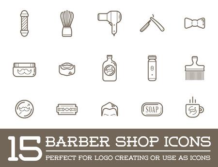 barber pole: Set of Barber Shop Elements and Shave Shop Icons Illustration Illustration