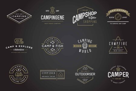 outdoor activities: Set of Camping Camp Elements With Fictitious Names and Outdoor Activity Icons Illustration Illustration