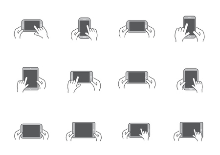 hand hold: Set of Icons with Hands Holding Smart Device with Gestures Illustration