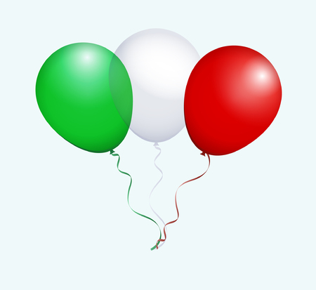 flotation: Balloons in Green White Red as Italy National Flag