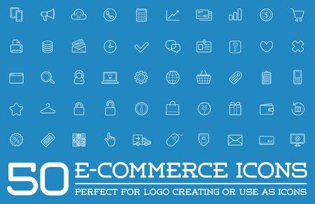 ecommerce icons: Set of E-Commerce Icons Shopping and Online Illustration
