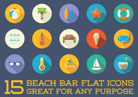 jetty: Set of Beach Sea Bar Flat Icons Elements and Summer
