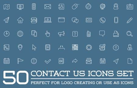 contact icon: Set of Contact us Service Elements and Assistance Support Illustration