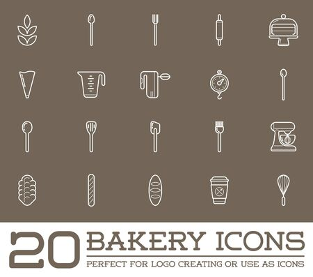 bakery: Set of Bakery Pastry Elements and Bread Icons