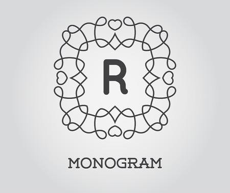 r fine: Monogram Design Template with Letter R Illustration Premium Elegant Quality