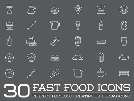 egg cups: Set of Fastfood Fast Food Elements Icons and Equipment Illustration