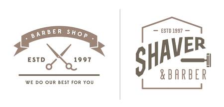 scissors: Set of Barber Shop Elements and Shave Shop Icons Illustration Illustration