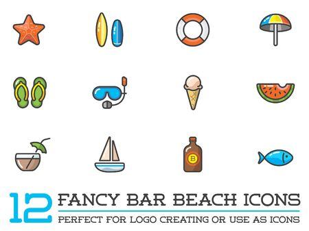 watermelon boat: Set of Beach Sea Bar Flat Icons Elements and Summer
