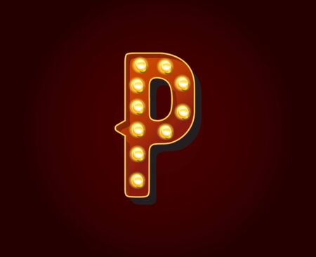 show case: Casino or Broadway Signs style light bulb Alphabet Letter Character P
