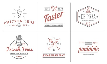 Set of Fastfood Fast Food Elements Icons and Equipment as Illustration