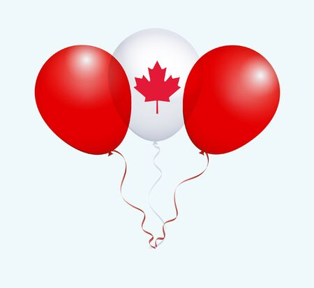 flotation: Balloons in White Red as Canada National Flag