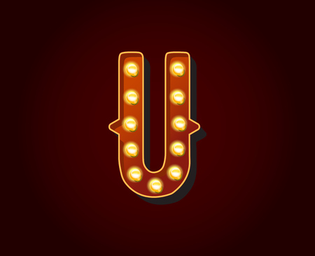 show case: Casino or Broadway Signs style light bulb Alphabet Letter Character